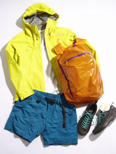 Clothing, Yellow, Outerwear, Jacket, Personal protective equipment, Raincoat, Hood, Workwear, Sleeve, Footwear,