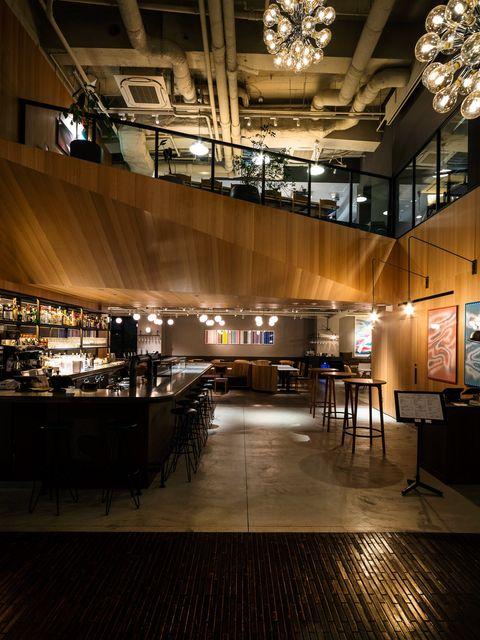 Architecture, Lighting, Light, Building, Interior design, Ceiling, Floor, Design, Lobby, Night,