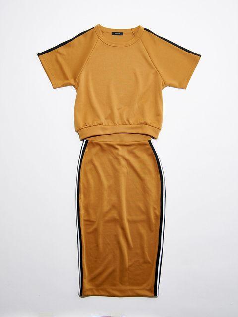 Clothing, Yellow, Orange, Sleeve, Dress, Day dress, T-shirt, Cocktail dress, Silk, Peach,
