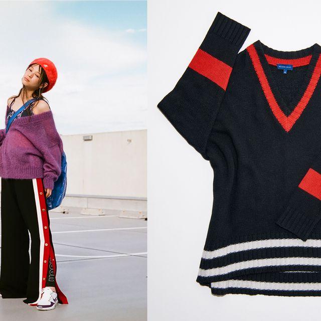 Sleeve, Collar, Textile, Red, Sweater, Pattern, Carmine, Fashion, Maroon, Street fashion,
