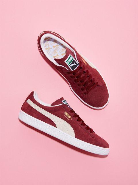 Footwear, Shoe, Red, White, Logo, Font, Carmine, Maroon, Black, Tan,