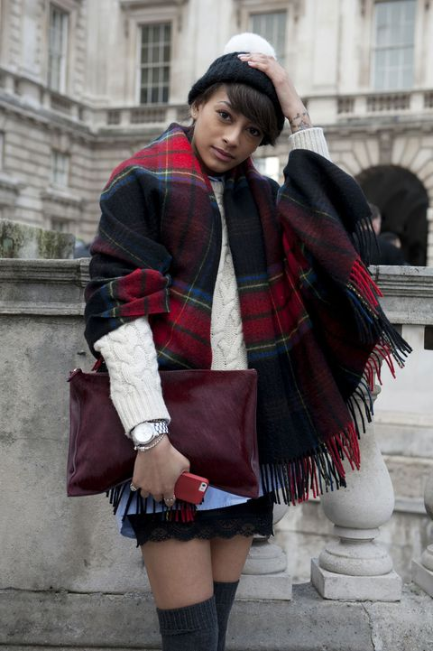 Clothing, Sleeve, Plaid, Textile, Pattern, Outerwear, Tartan, Winter, Style, Fashion accessory,