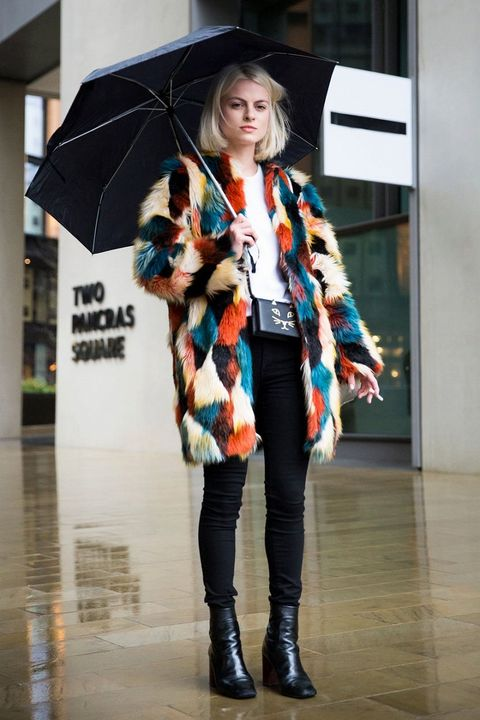 Clothing, Sleeve, Winter, Textile, Outerwear, Style, Boot, Street fashion, Umbrella, Jacket,