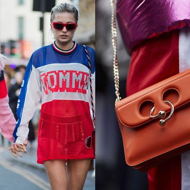 Pink, Eyewear, Red, Street fashion, Fashion, Clothing, Sunglasses, Magenta, Bag, Shoulder,