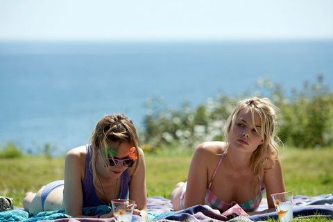 People in nature, Sun tanning, Photograph, Fun, Vacation, Summer, Grass, Leisure, Meadow, Blond,