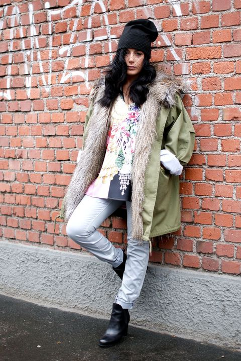 Clothing, Footwear, Brick, Cap, Brickwork, Textile, Shoe, Outerwear, Coat, Style,