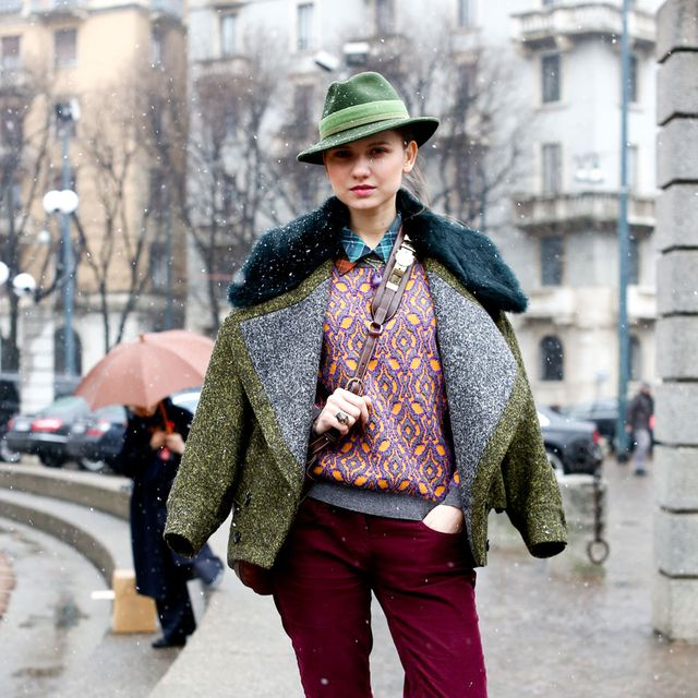 Clothing, Hat, Trousers, Winter, Road, Textile, Street, Shoe, Outerwear, Style,