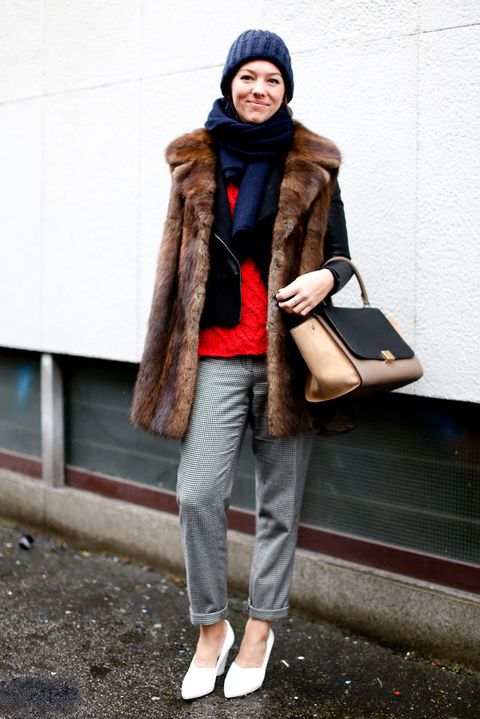 Clothing, Brown, Textile, Jacket, Outerwear, Bag, Style, Street fashion, Winter, Fashion accessory,