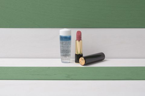 Turquoise, Lipstick, Material property, Table, Furniture, Cosmetics, Beige, Whiteboard, Rectangle, Shelf,