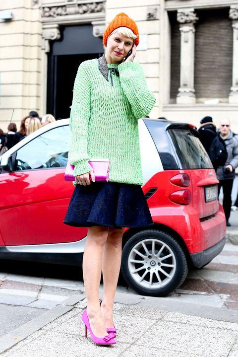 Clothing, Automotive design, Land vehicle, Pink, Car, Magenta, Style, Dastar, Street fashion, Fashion,