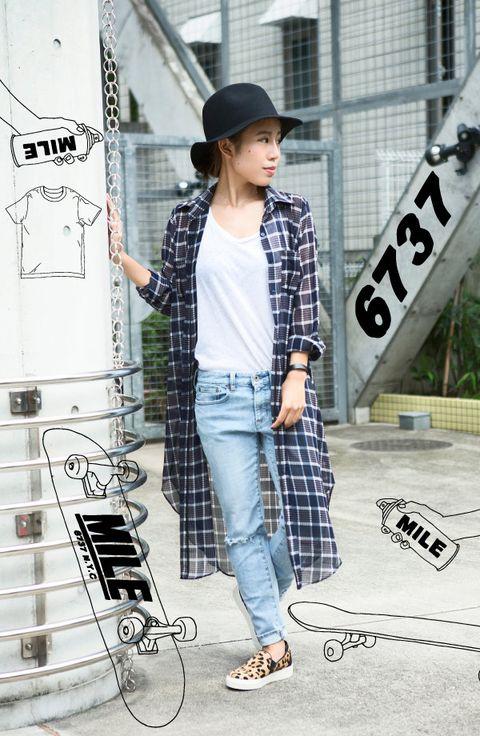 Clothing, Hat, Sleeve, Trousers, Denim, Plaid, Textile, Collar, Outerwear, Bag,