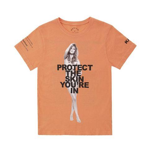 Product, Sleeve, Shirt, T-shirt, Font, Orange, Peach, Neck, Carmine, Active shirt,