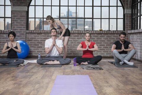 Leg, Sitting, Exercise, Physical fitness, Comfort, Knee, Active pants, Yoga mat, Swiss ball, Training,