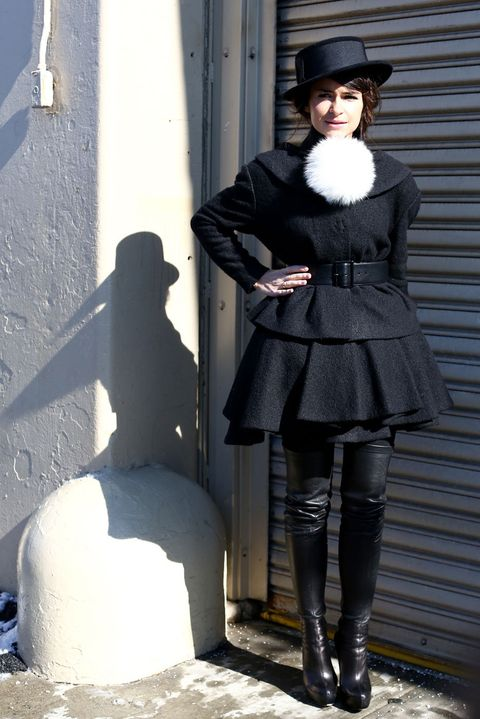 Clothing, Sleeve, Textile, Hat, Outerwear, Style, Street fashion, Knee, Boot, Headgear,