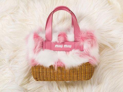 Bag, Handbag, Pink, Product, Fashion accessory, Material property, Shoulder bag, Fur, Tote bag, Basket,
