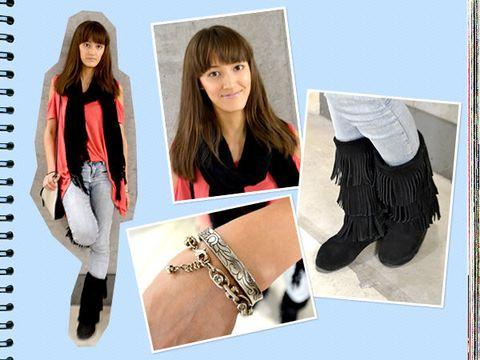 Brown, Style, Fashion, Bangs, Natural material, Long hair, Waist, Street fashion, Fashion model, Boot,