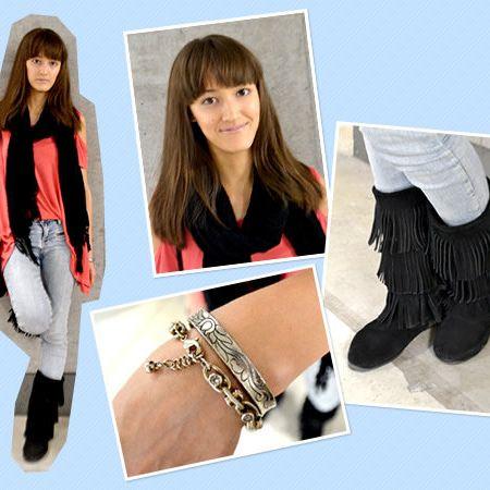 Brown, Style, Fashion, Bangs, Natural material, Long hair, Street fashion, Waist, Fashion model, Boot,