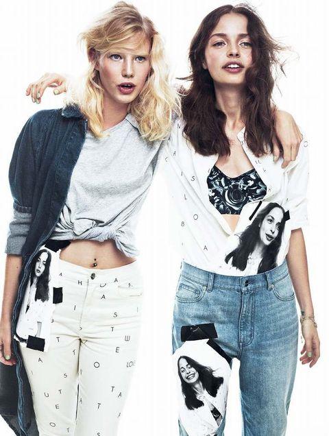 Hairstyle, Sleeve, Denim, Shoulder, Textile, Style, Waist, Pocket, Fashion, Youth,