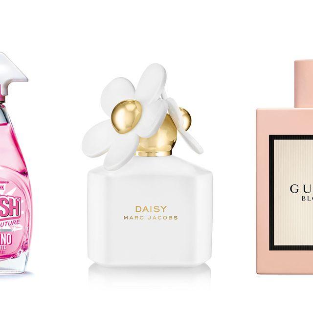 Product, Perfume, Pink, Liquid, Cosmetics, Fluid, Bottle, Glass bottle, Brand,