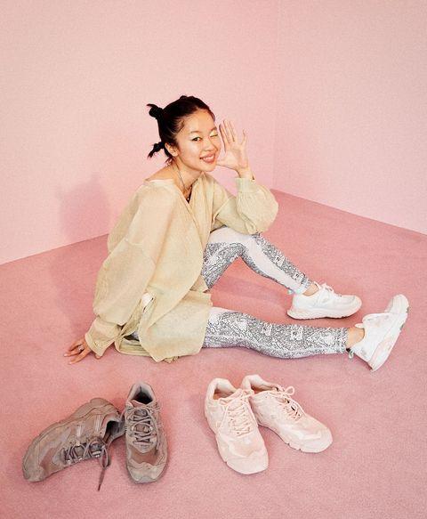 Shoe, Pink, Fashion, Headpiece, Hair accessory, Costume, Walking shoe, Fashion design, Peach, Photo shoot,