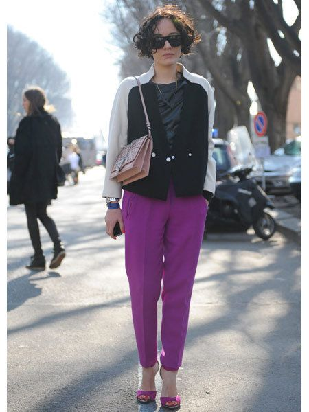 Clothing, Footwear, Trousers, Textile, Outerwear, Bag, Purple, Sunglasses, Style, Street fashion,