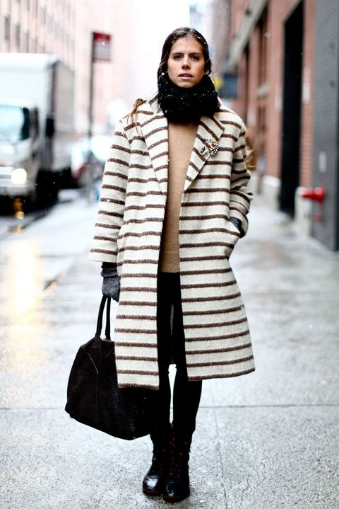 Clothing, Brown, Winter, Textile, Outerwear, Bag, Street, Coat, Style, Street fashion,