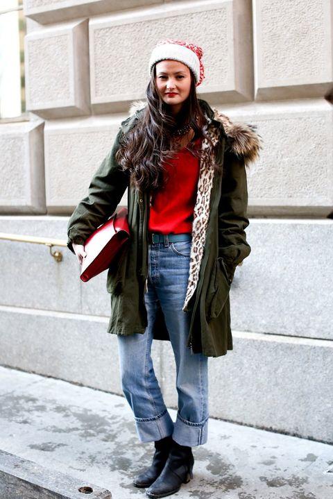Clothing, Leg, Denim, Winter, Jeans, Textile, Coat, Cap, Outerwear, Jacket,