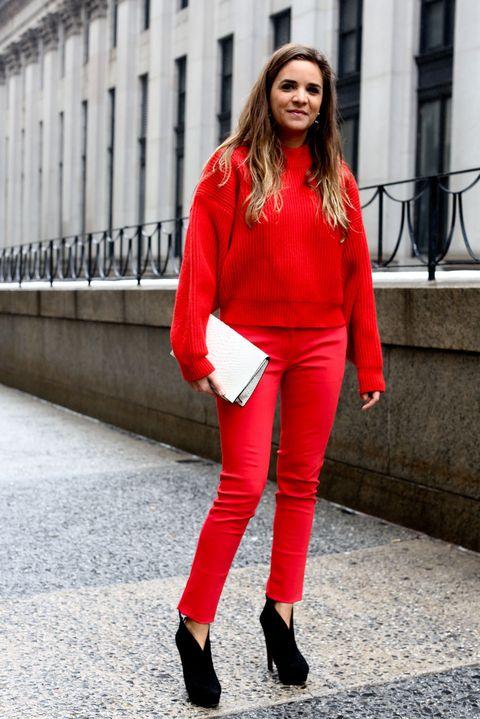 Clothing, Lip, Sleeve, Textile, Shoe, Outerwear, Human leg, Red, Style, Street fashion,