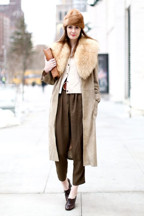 Clothing, Brown, Shoulder, Winter, Textile, Outerwear, Bag, Coat, Style, Street fashion,