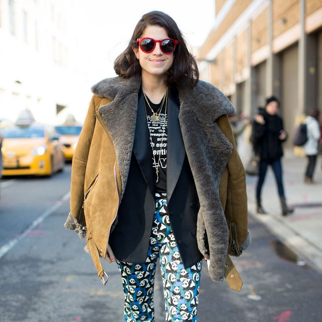 Clothing, Eyewear, Vision care, Trousers, Sunglasses, Textile, Outerwear, Coat, Street fashion, Style,