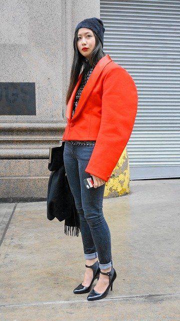 Footwear, Leg, Textile, Bag, Outerwear, Style, High heels, Winter, Street fashion, Denim,