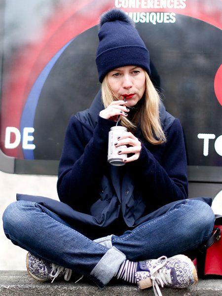 Cap, Winter, Jeans, Sitting, Street fashion, Denim, Beanie, Dessert, Knit cap, Cuisine,