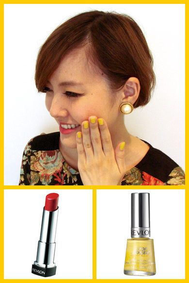 Lip, Yellow, Hairstyle, Eyebrow, Earrings, Jaw, Tooth, Eyelash, Lipstick, Cosmetics,