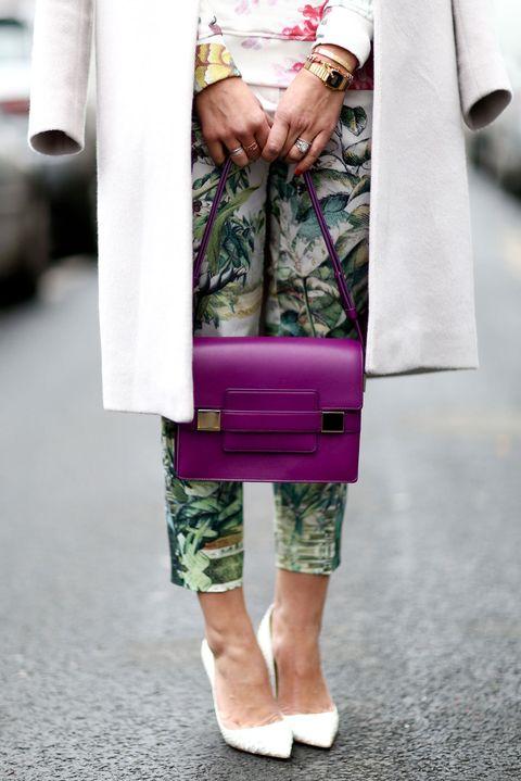 Sleeve, Textile, Bag, Pink, Style, Street fashion, Pattern, Magenta, Purple, Fashion,