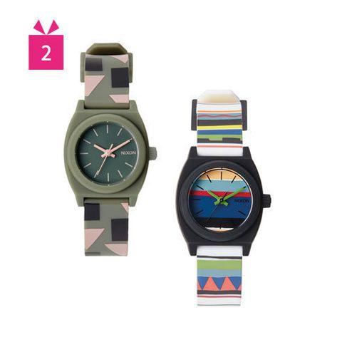 Product, Watch, Aqua, Font, Glass, Azure, Analog watch, Watch accessory, Grey, Magenta,