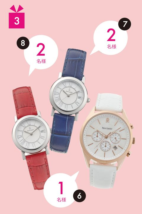 Product, Watch, Red, Analog watch, White, Pink, Watch accessory, Glass, Magenta, Fashion accessory,