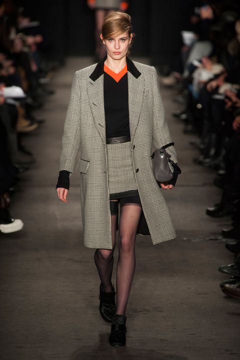Clothing, Footwear, Fashion show, Event, Runway, Outerwear, Coat, Style, Fashion model, Pattern,