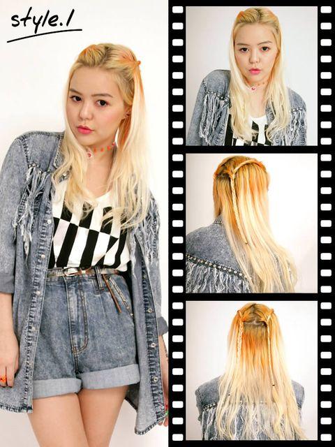 Clothing, Hairstyle, Sleeve, Eyebrow, Denim, Photograph, Style, Eyelash, Beauty, Long hair,
