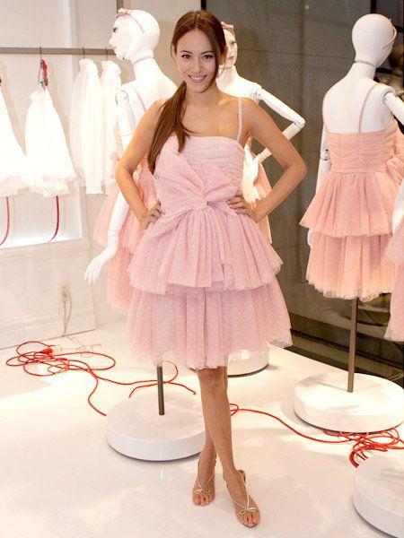 Shoulder, Dress, Pink, One-piece garment, Waist, Fashion, Day dress, Cocktail dress, Embellishment, Fashion design,