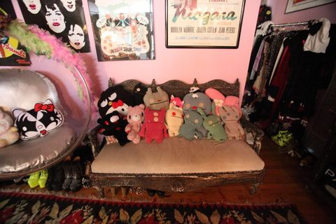 Room, Pink, Interior design, Toy, Carpet, Picture frame, Interior design, Stuffed toy, Cushion, Velvet,