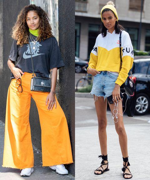 Clothing, Footwear, Brown, Yellow, Human body, Textile, Human leg, Denim, White, Bag,
