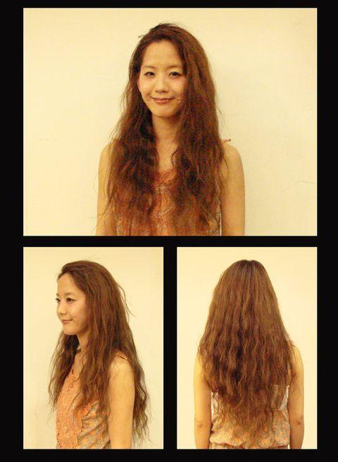 Hair, Lip, Brown, Hairstyle, Chin, Eyebrow, Facial expression, Long hair, Style, Beauty,
