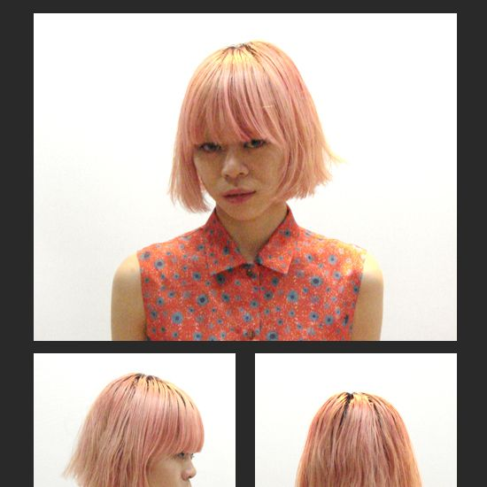 Hair, Lip, Hairstyle, Chin, Red, Bangs, Style, Step cutting, Hair coloring, Wig,