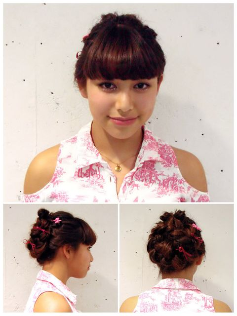 Hairstyle, Chin, Forehead, Shoulder, Pink, Style, Bangs, Neck, Beauty, Hair accessory,