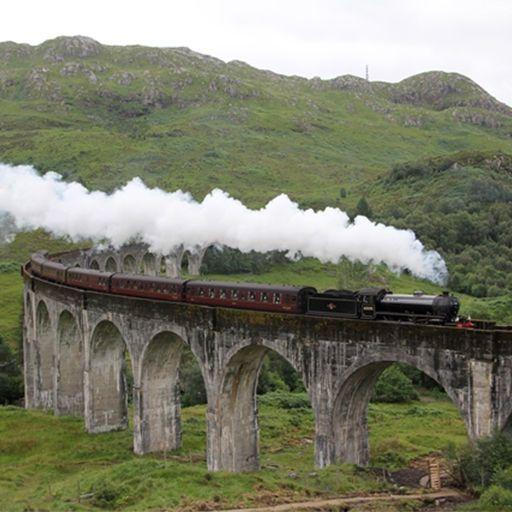Transport, Rolling stock, Railway, Highland, Steam engine, Bridge, Arch bridge, Hill, Train, Locomotive,