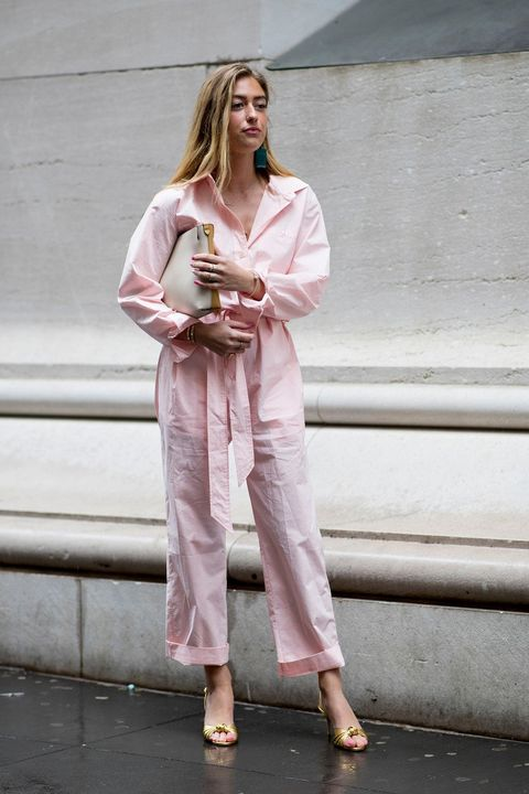 Clothing, Pink, Street fashion, Fashion, Shoulder, Outerwear, Pantsuit, Photography, Trousers, Shoe,
