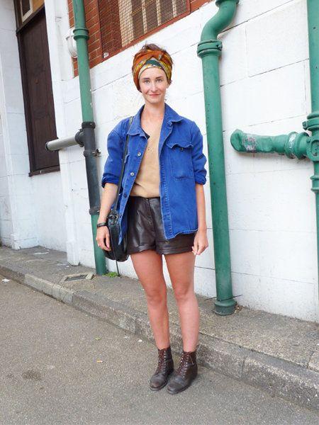 Clothing, Outerwear, Jacket, Style, Street fashion, Denim, Boot, Shorts, Leather, Knee,