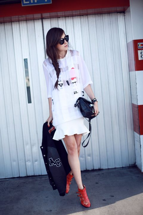 Clothing, Sleeve, Shoulder, Red, Bag, Joint, Outerwear, White, Fashion accessory, Style,