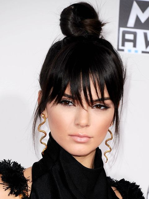 Nose, Lip, Hairstyle, Eyelash, Style, Black hair, Bangs, Fashion, Black, Costume accessory,
