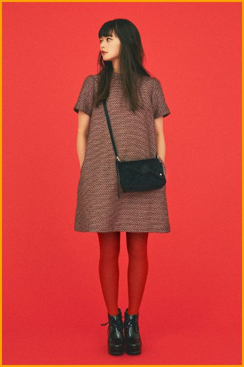 Clothing, Fashion, Tights, Outerwear, Fashion model, Maroon, Dress, Footwear, Beige, Pattern,